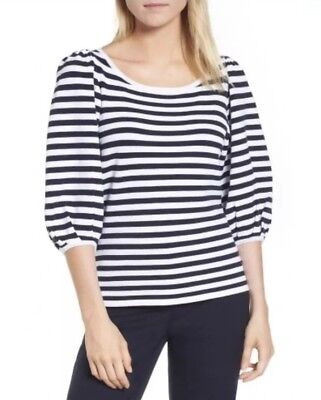 Nordstrom Signature New Navy Stripe Puff Blouson Sleeve Scoop Sweater Top Small ()