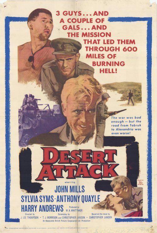 DESERT ATTACK Movie POSTER 27x40 John Mills Sylvia Syms Anthony Quayle Harry