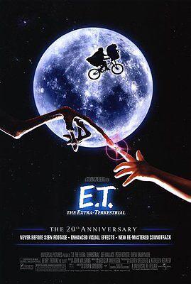 E.T. EXTRA TERRESTRIAL MOVIE POSTER 2 Sided 20th Ann. ORIGINAL FINAL  27x40