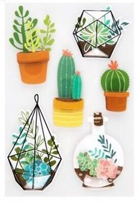 Succulents, Terrarium Cactus Plants Stickers Craft 3d Scrapbook Stickers, used for sale  Shipping to India