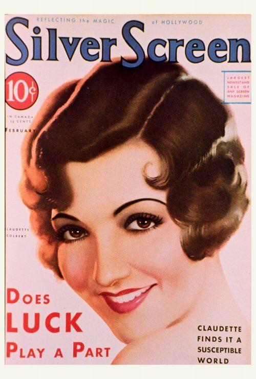 CLAUDETTE COLBERT Movie POSTER 27x40 Silver Screen Magazine Cover 1930
