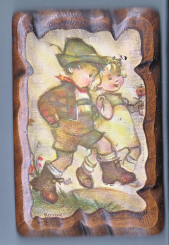 HUMMEL GOEBEL LITTLE BOY & GIRL WALKING ON DECOUPAGE 4 X 6 INCH WALL HANGING