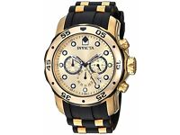 Brand New Invicta Men's 17885 Pro Diver Chronograph 18k Gold Plated luxury watch timepiece