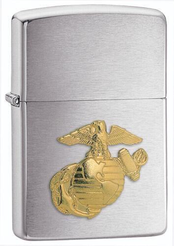 Zippo USMC U.S.M.C Brushed Chrome Lighter With Marines Emblem 280MAR NEW L@@K