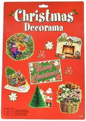 BEISTLE 10PC CHRISTMAS DECORAMA DIECUTS CUTOUTS DECORATIONS HONEYCOMB CENERPIECE (Beistle Halloween Decorama)