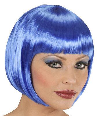 Damen Bob Perücke (Chan.) Frauen Pagenkopf, Vampir Halloween Techno Party, blau