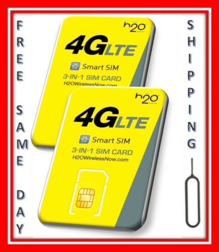 2 H2O WIRELESS 3-in-1 SIM card Regular, Micro, Nano. AT&T & UNLOCKED PHONES. H20