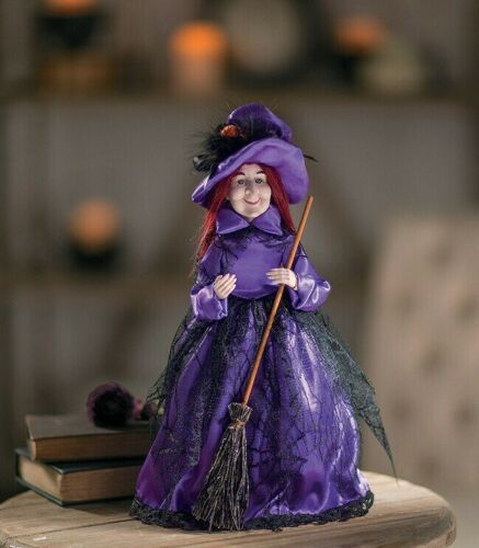 """Halloween Witch Table Top Tree Topper 16"""" Purple Dress with Broom New"""