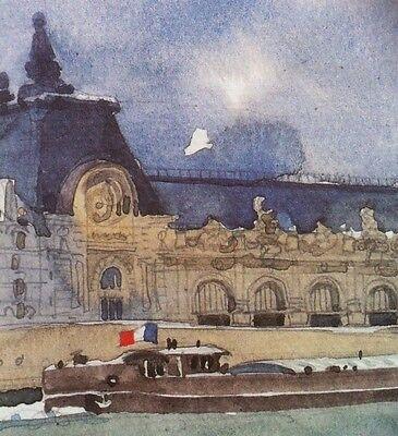Watercolor Art Print • Musee d'Orsay Paris  Restoration Hardware Style France RH