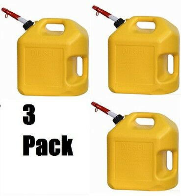 3 Ea Midwest 8600 5 Gallon Yellow Poly Diesel Fuel Can Containers W Spouts