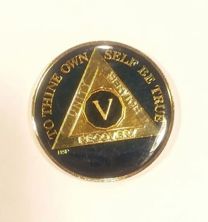 5 Year AA Sobriety Coin Medallion- Rich Midnight Blue Enamel Fifth Year V Five