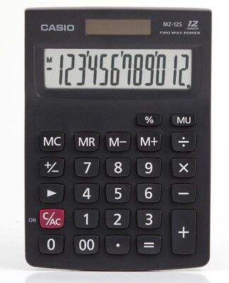 Casio MZ-12s Electronic Calculator 12-Digit EXTRA LARGE DISPLAY Mark-Up % TWIN