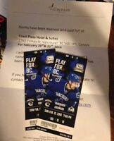 Canucks tickets feb 21 and 2 nights hotel