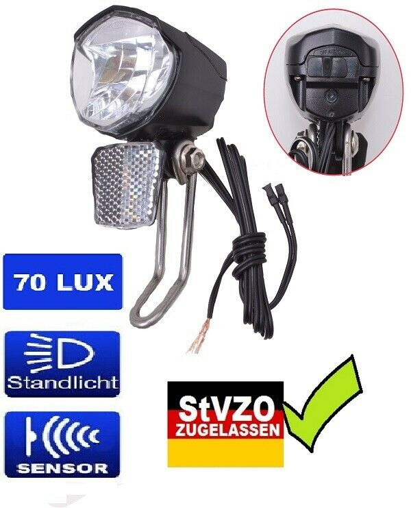 TBL310 Fahrradbeleuchtung Set Dynamo Frontlampe Rücklicht Lampe Licht Halterung
