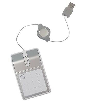 Retractable Portable USB Mouse in White and Silver with Built in Puzzle Game