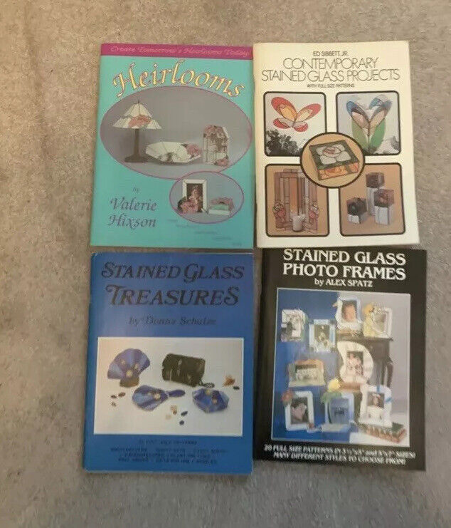 Lot Of 4, Stained Glass Pattern Books, Pre-owned