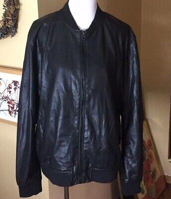 ZARA MAN Size XXL Leather Jacket Mens  Perforated Vegan SOFT CLASSIC $129 NWOT