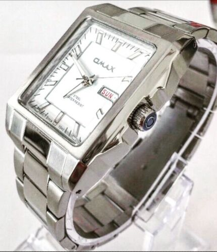 Men Watch Silver Metal Strap Classic Luxury Day Date Swiss Omax Designer Smart