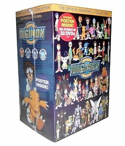 Digimon: Digital Monsters Seasons 1-4 DVD Set 32 Discs with Poster **On Sale**