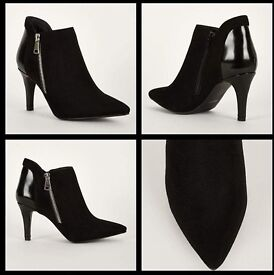 Faux Suede And Patent Ankle Boots In Black