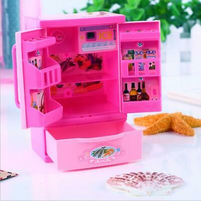 Fridge for barbie doll dream house kitchen Refrigerator Furniture Play Set Food
