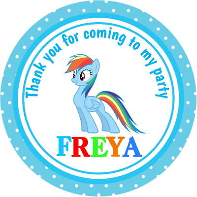 PERSONALISED RAINBOW DASH GLOSS BIRTHDAY PARTY BAG BOX SWEET CONE STICKERS
