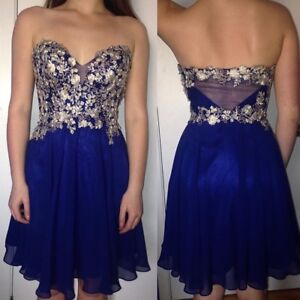 Beautiful blue and gold grad or special occasion dress, size 2