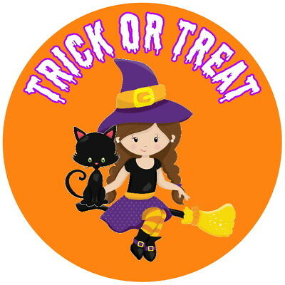 PERSONALISED GLOSS HALLOWEEN WITCH STICKERS TRICK OR  TREAT PARTY ANY TEXT