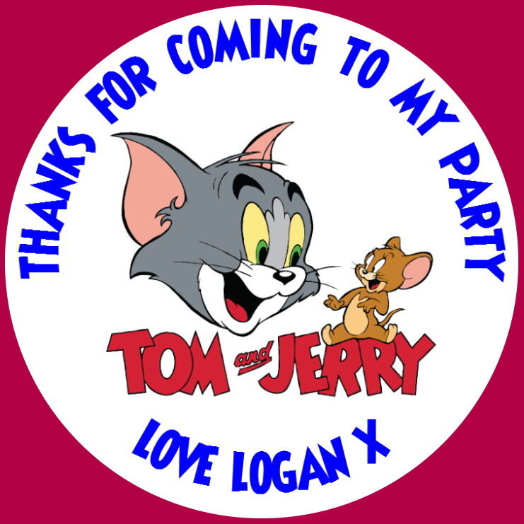 Personalised Tom /& Jerry Birthday Party Stickers Thankyou Sweet Cones Bags Label