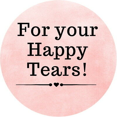 PERSONALISED GLOSS  WEDDING HAPPY TEARS TISSUE CELEBRATION   STICKERS 100 SHADES (Happy Tears)