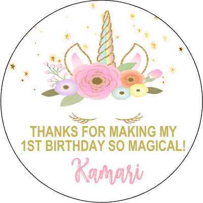 48 Birthday Party Baby Shower Unicorn Face Stickers Tags favors gold Round 1.67