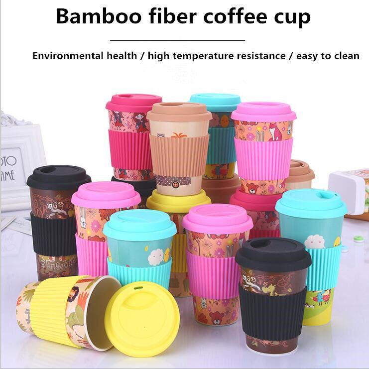 Reusable Bamboo Fibre Ecoffee Cups Eco Friendly Travel Coffee Mug 430ML