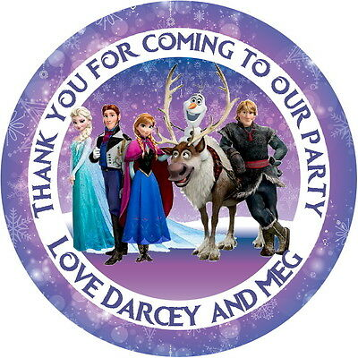 Frozen Characters For Party (24 DISNEY FROZEN CHARACTERS PERSONALISED STICKERS, GLOSS LABELS FOR PARTY)