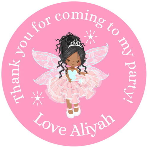 PERSONALISED BROWN SKIN FAIRY PRINCESS  PINK GLOSS PARTY  SWEET CONE STICKERS
