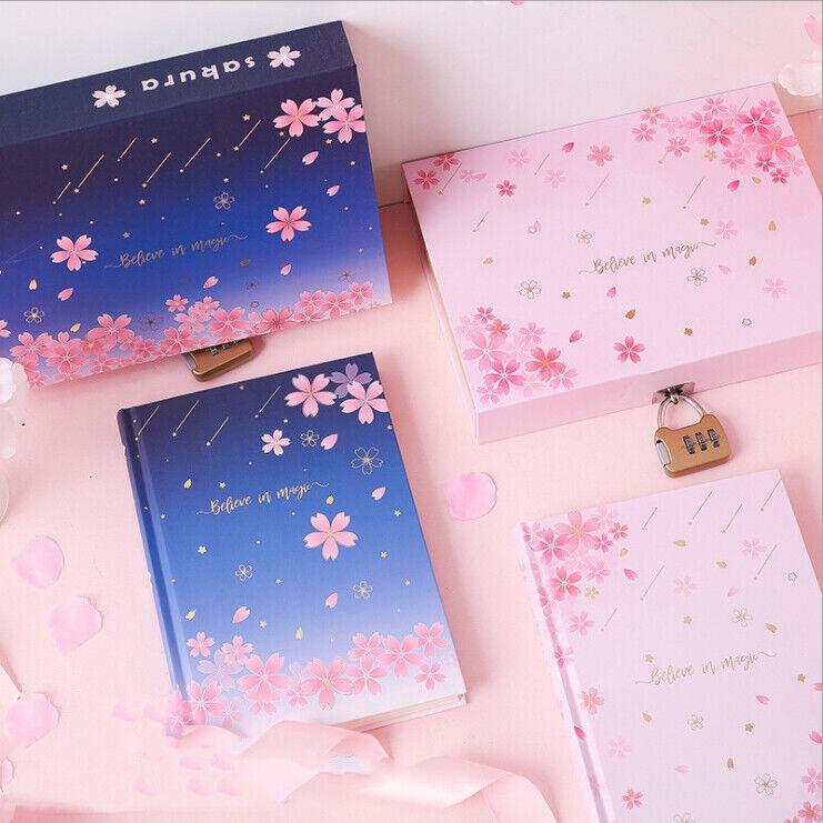 """Sakura Magic"" 1pc Journal Notebook Lock Box Diary Flora Sty"