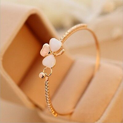 Fashion Women Jewelry Flower Crystal Gold Plated Charm Cuff Bangle Bracelet Gift