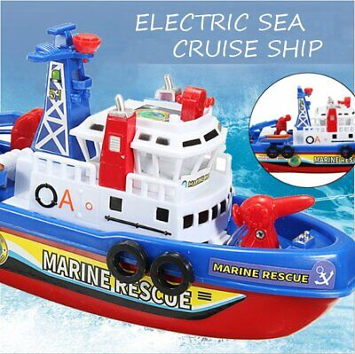 Electric Fire Boat Children Toddler Bath Watercraft Rescue Squirt Ride Ship Kid