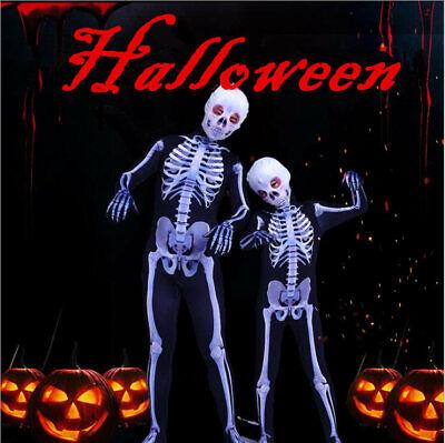 US!Halloween Adults/Kids Skeleton Cosplay Costume Horrible Party Zentai Jumpsuit