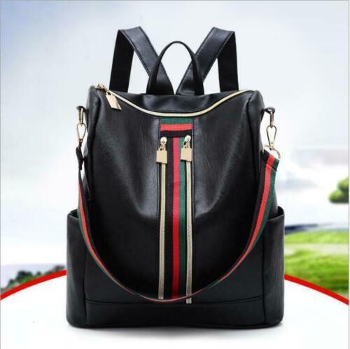 Damen Schwarz Rucksack Leder Damentasche Handtasche  Übergröße Schultertasche hh