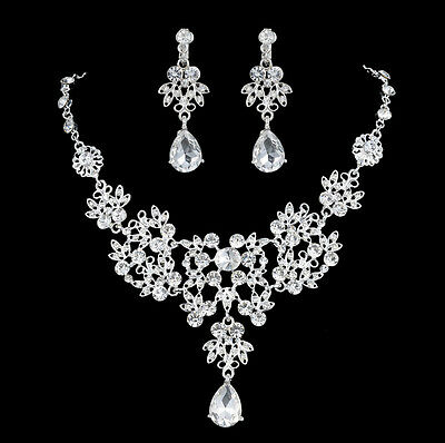 Silver Plated Crystal Necklace Earrings Bridal Wedding Jewelry Set Gift White