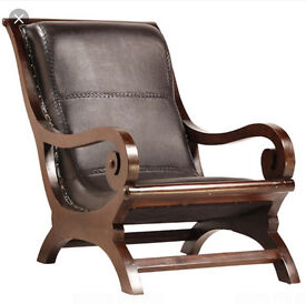 ANTIQUE SHIPS CHAIR / BALI CHAIR MADE FROM TEAK AND THE FINEST LEATHER.