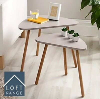 NEW HOME DECOR BEDROOM MINK SIDE COFFE ACTIVITY LOFT NESTING TABLE SET OF 2