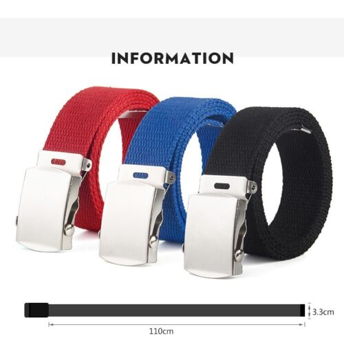 New Canvas Web Buckle Belt Silver Buckle Military Style For Men & Women Usa