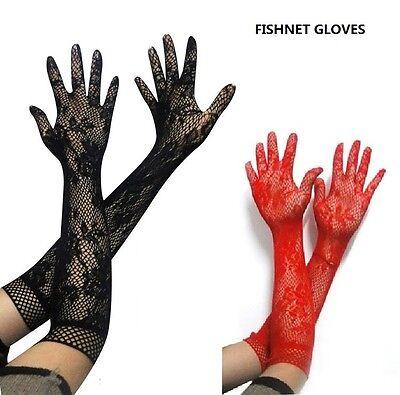 Sexy Qualität Schwarz, Heiß Rote Fischnetz Handschuhe, Kostüm Zubehör,
