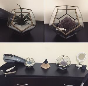 2 home made terrariums! One from home sense + crystals!