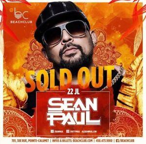 Sean Paul @ Beach Club - July 22 ( 4 tickets for $40/ each)