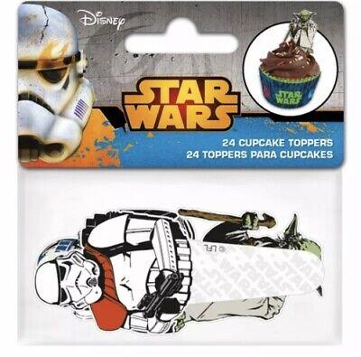 24 Star Wars  R2 D2 Darth Vader Yoda Storm Trooper Disney Fairy CupCake Toppers