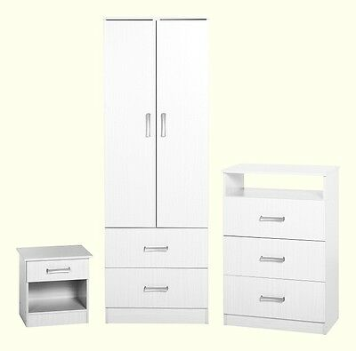 POLAR White 3 Piece Bedroom Set Bedside Chest Wardrobe