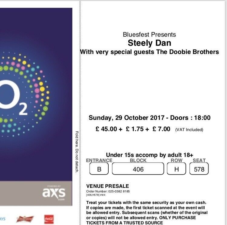 Steely Dan at the O2 Sunday 29th Oct