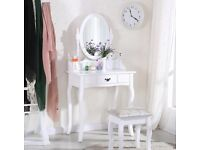 White dressing table with mirror and stool hardly used excellent condition